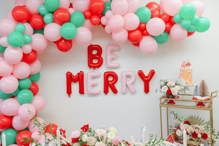 """Be Merry"" Balloon Backdrop from a ""Be Merry"" Colorful Christmas Party on Kara's Party Ideas 