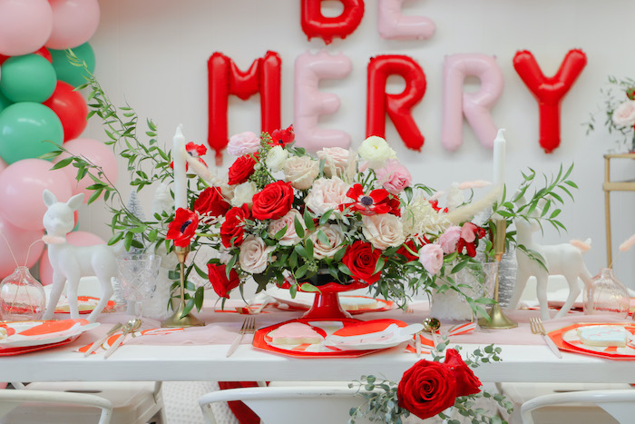 "Christmas Floral Centerpiece from a ""Be Merry"" Colorful Christmas Party on Kara's Party Ideas 