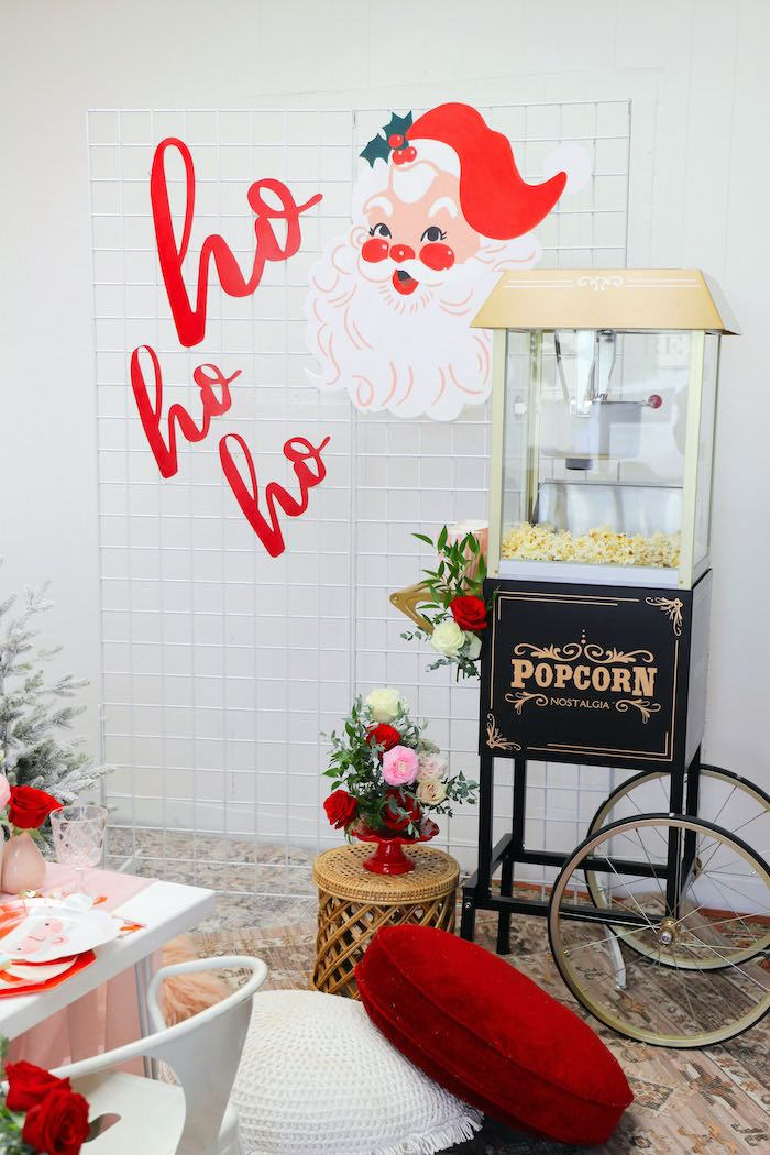 "Ho Ho Ho Popcorn Bar from a ""Be Merry"" Colorful Christmas Party on Kara's Party Ideas 