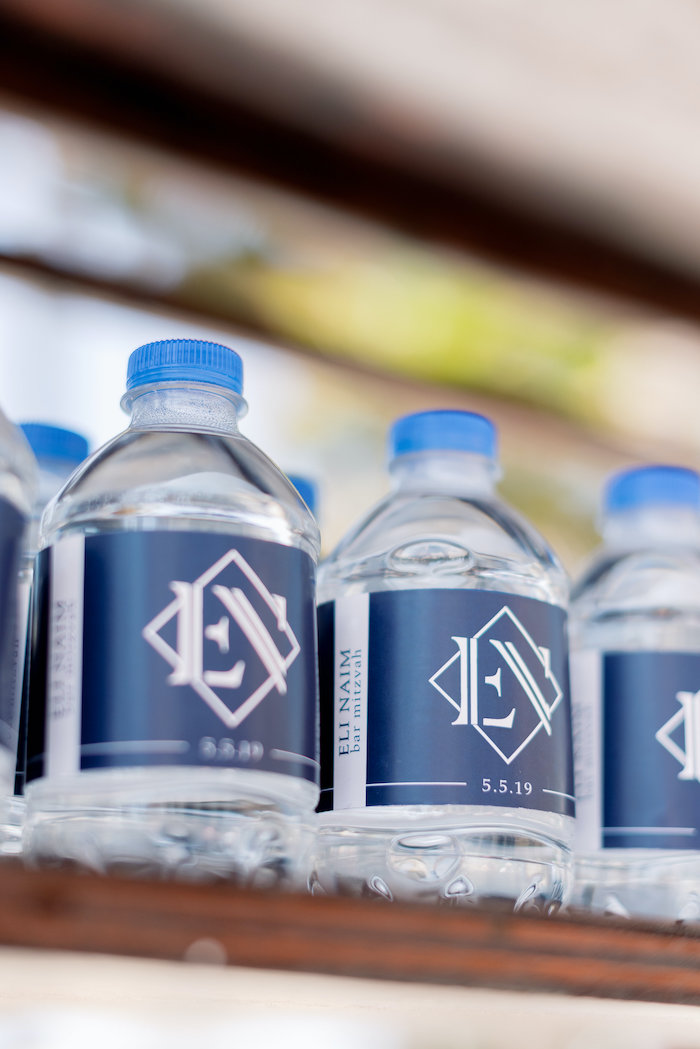 "Custom Water Bottles from a ""Day at the Beach"" Inspired Bar Mitzvah on Kara's Party Ideas 
