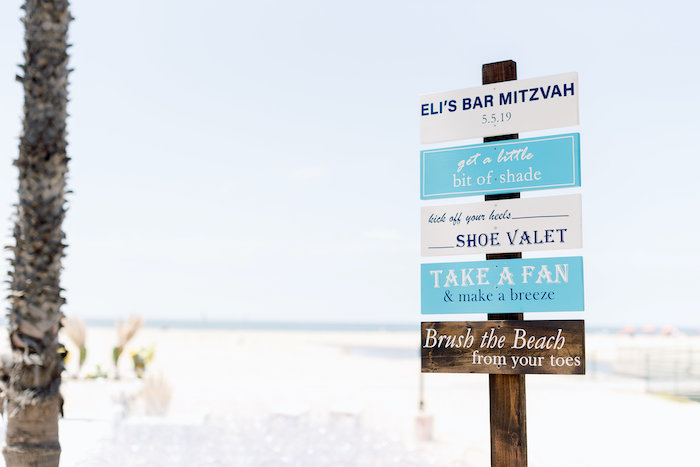 "Custom Wood Slat Sign from a ""Day at the Beach"" Inspired Bar Mitzvah on Kara's Party Ideas 