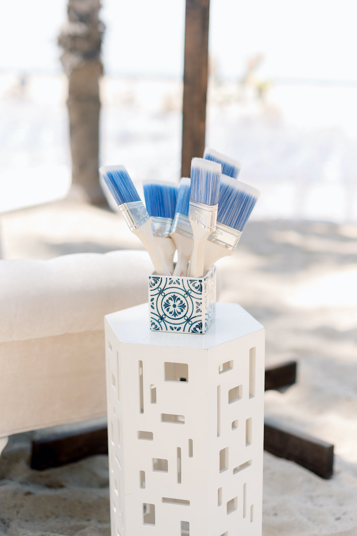 "Customized Paintbrushes from a ""Day at the Beach"" Inspired Bar Mitzvah on Kara's Party Ideas 