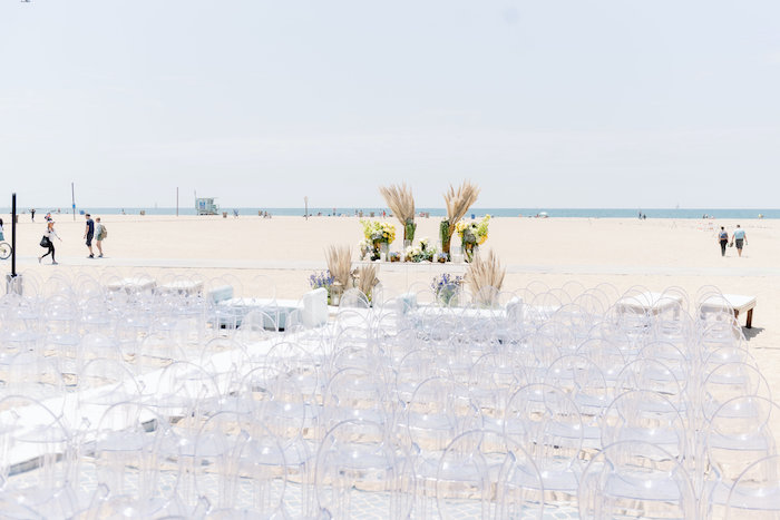 "Ceremony Venue + Ghost Chairs from a ""Day at the Beach"" Inspired Bar Mitzvah on Kara's Party Ideas 