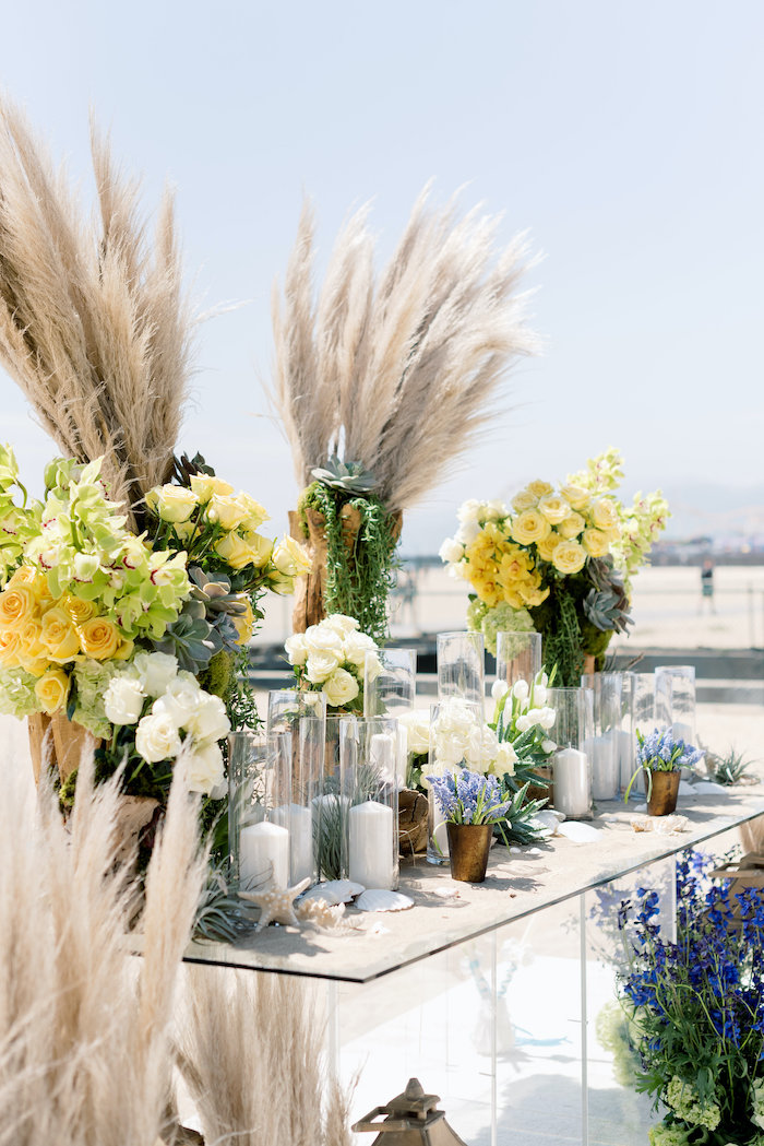"Head Floral Table from a ""Day at the Beach"" Inspired Bar Mitzvah on Kara's Party Ideas 