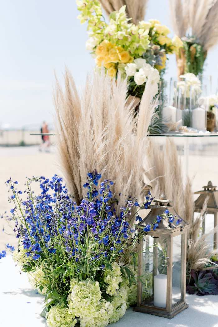 "Pampas Grass + Blooms from a ""Day at the Beach"" Inspired Bar Mitzvah on Kara's Party Ideas 