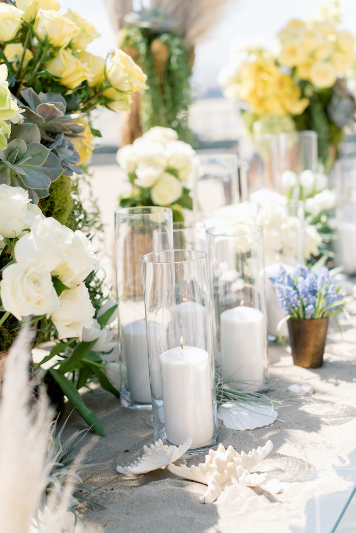 "Fluted Candles from a ""Day at the Beach"" Inspired Bar Mitzvah on Kara's Party Ideas 