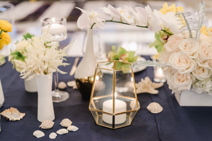 "Guest Table Decor from a ""Day at the Beach"" Inspired Bar Mitzvah on Kara's Party Ideas 