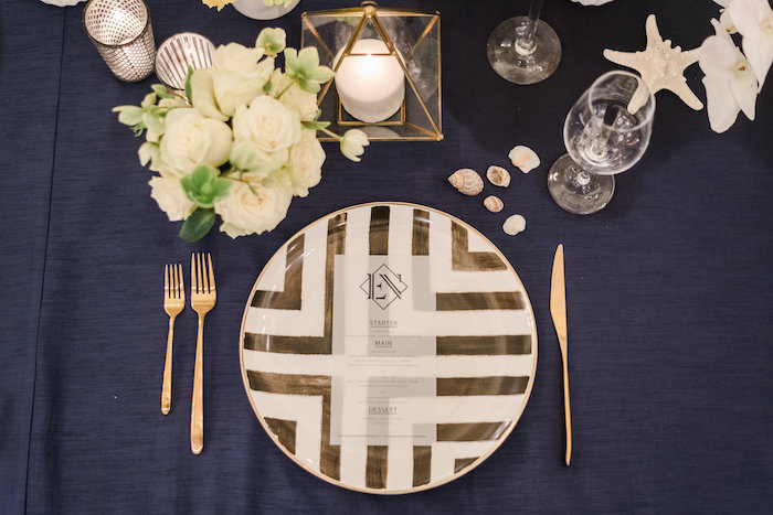"Black + Gold + White Table Setting from a ""Day at the Beach"" Inspired Bar Mitzvah on Kara's Party Ideas 