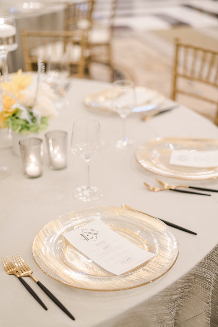 "Brushed Gold Plate Table Setting from a ""Day at the Beach"" Inspired Bar Mitzvah on Kara's Party Ideas 