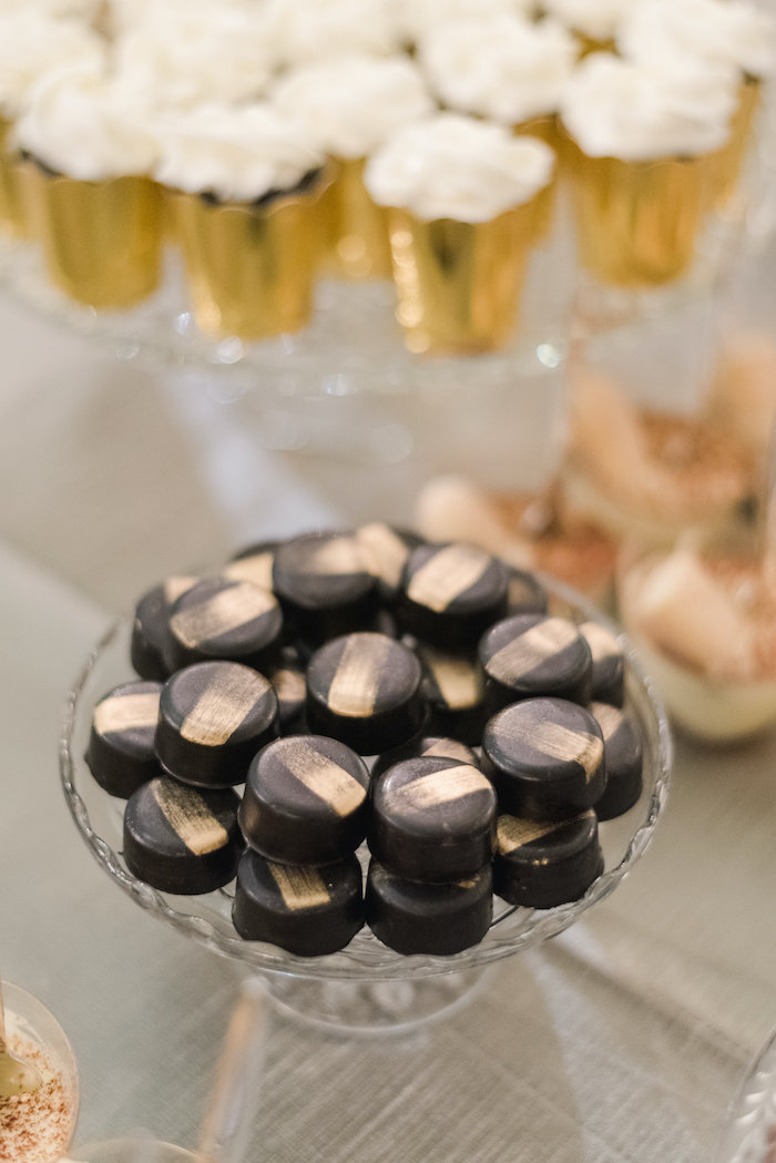 "Black Gold Striped Macarons from a ""Day at the Beach"" Inspired Bar Mitzvah on Kara's Party Ideas 