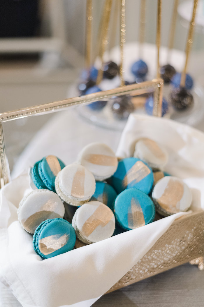 "Gold Striped Macarons from a ""Day at the Beach"" Inspired Bar Mitzvah on Kara's Party Ideas 