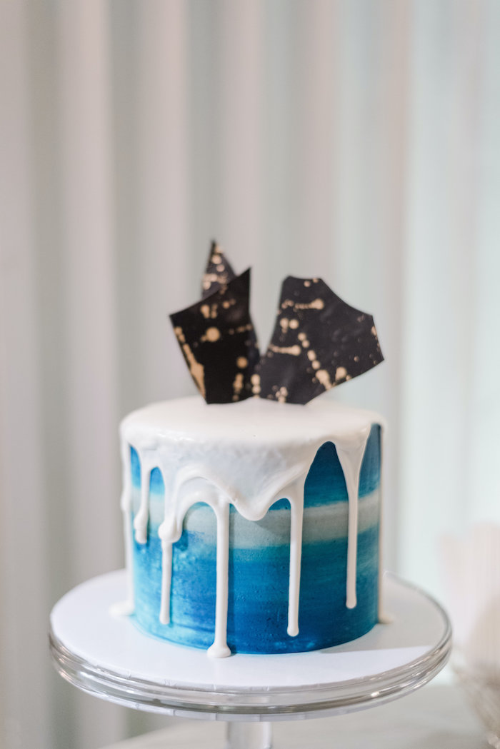 "Blue & White Drip Cake from a ""Day at the Beach"" Inspired Bar Mitzvah on Kara's Party Ideas 
