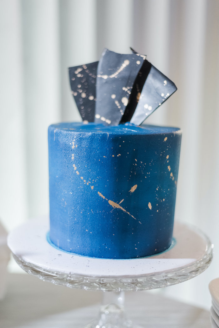 "Elegant Splatter Cake from a ""Day at the Beach"" Inspired Bar Mitzvah on Kara's Party Ideas 