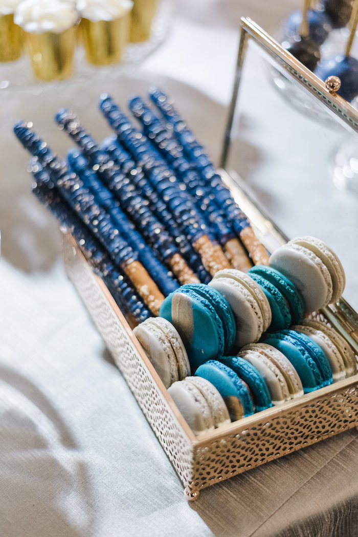 "Chocolate-dipped Pretzel Rods + Macarons from a ""Day at the Beach"" Inspired Bar Mitzvah on Kara's Party Ideas 