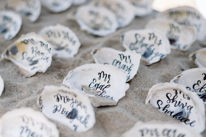 "Seashell Place Cards from a ""Day at the Beach"" Inspired Bar Mitzvah on Kara's Party Ideas 
