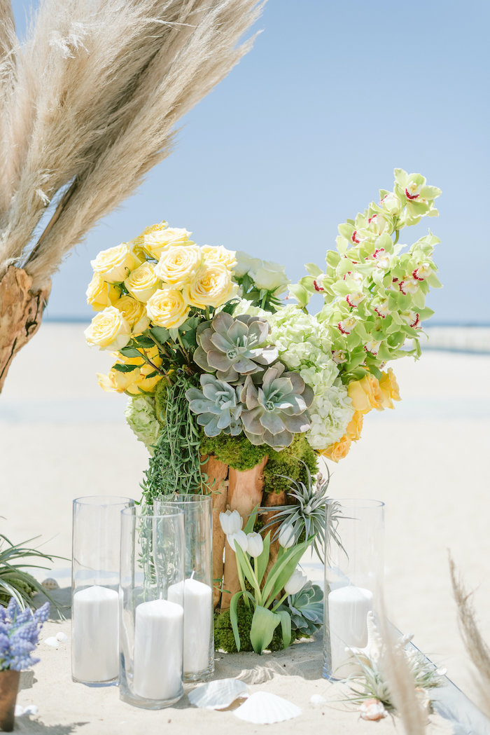 "Succulents + Candles & Blooms from a ""Day at the Beach"" Inspired Bar Mitzvah on Kara's Party Ideas 