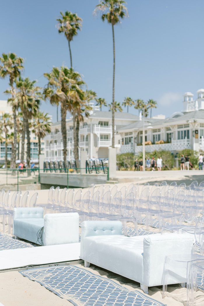 "Chais & Ghost Chair Beachfront Seating from a ""Day at the Beach"" Inspired Bar Mitzvah on Kara's Party Ideas 