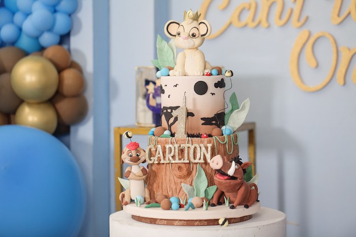 "Lion King Birthday Cake from a ""Just Can't Wait to be One"" Lion King 1st Birthday Party on Kara's Party Ideas 