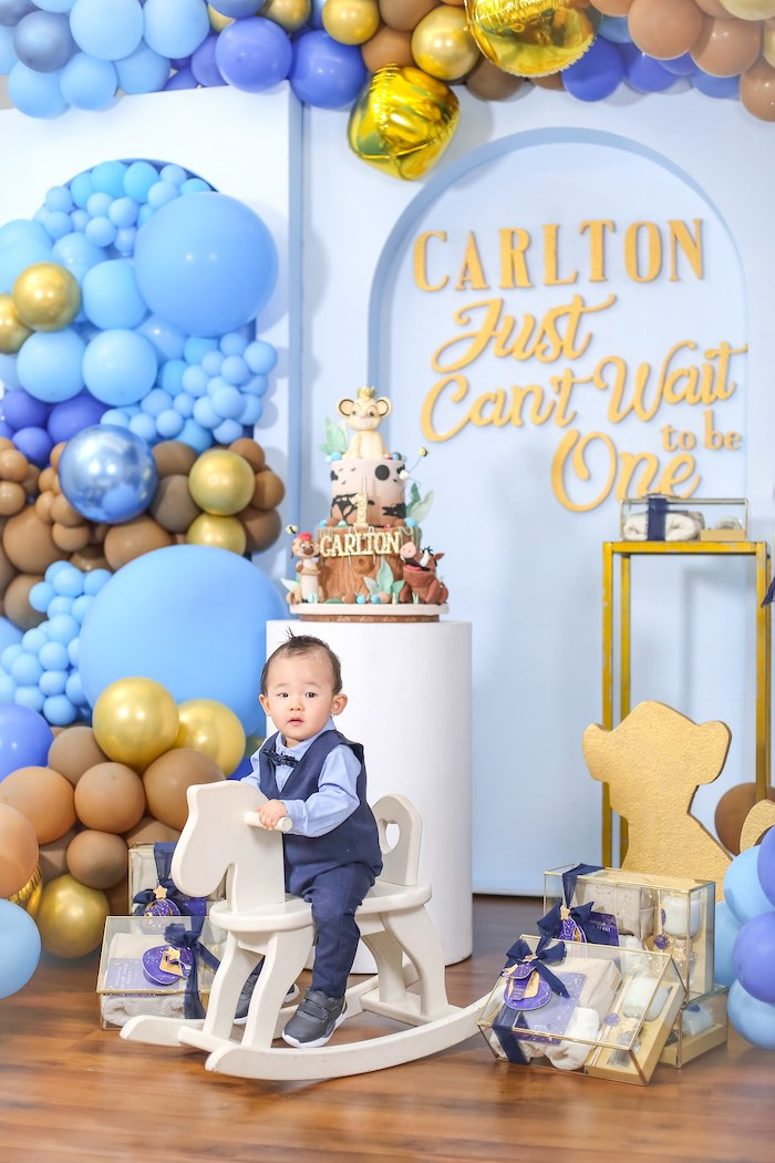 """Just Can't Wait to be One"" Lion King 1st Birthday Party on Kara's Party Ideas 