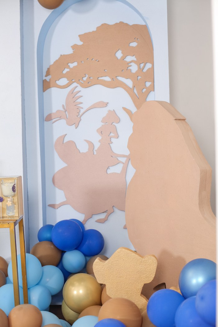 "Lion King Character Silhouettes + Standees from a ""Just Can't Wait to be One"" Lion King 1st Birthday Party on Kara's Party Ideas 
