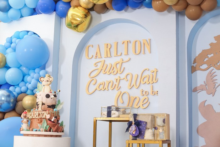 """Just Can't Wait to be One"" Backdrop from a Lion King 1st Birthday Party on Kara's Party Ideas 