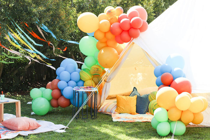 "Groovy Tent Lounge from a ""TWO Groovy"" 2nd Birthday Party on Kara's Party Ideas 
