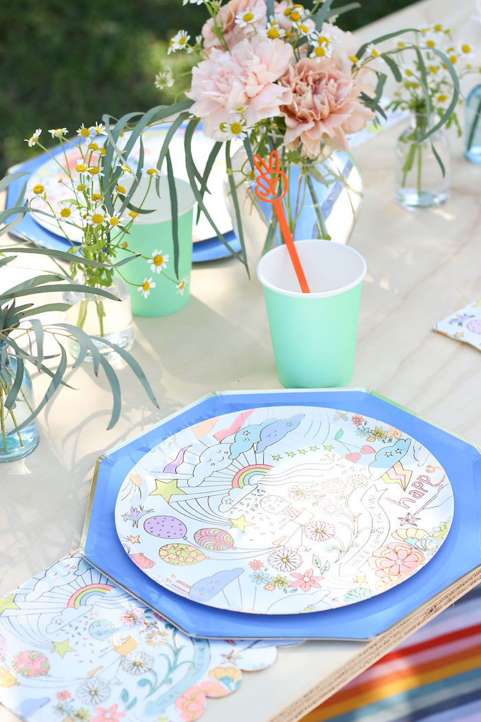 "Groovy Guest Table Setting from a ""TWO Groovy"" 2nd Birthday Party on Kara's Party Ideas 