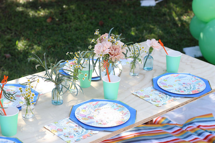 "Groovy Guest Table from a ""TWO Groovy"" 2nd Birthday Party on Kara's Party Ideas 