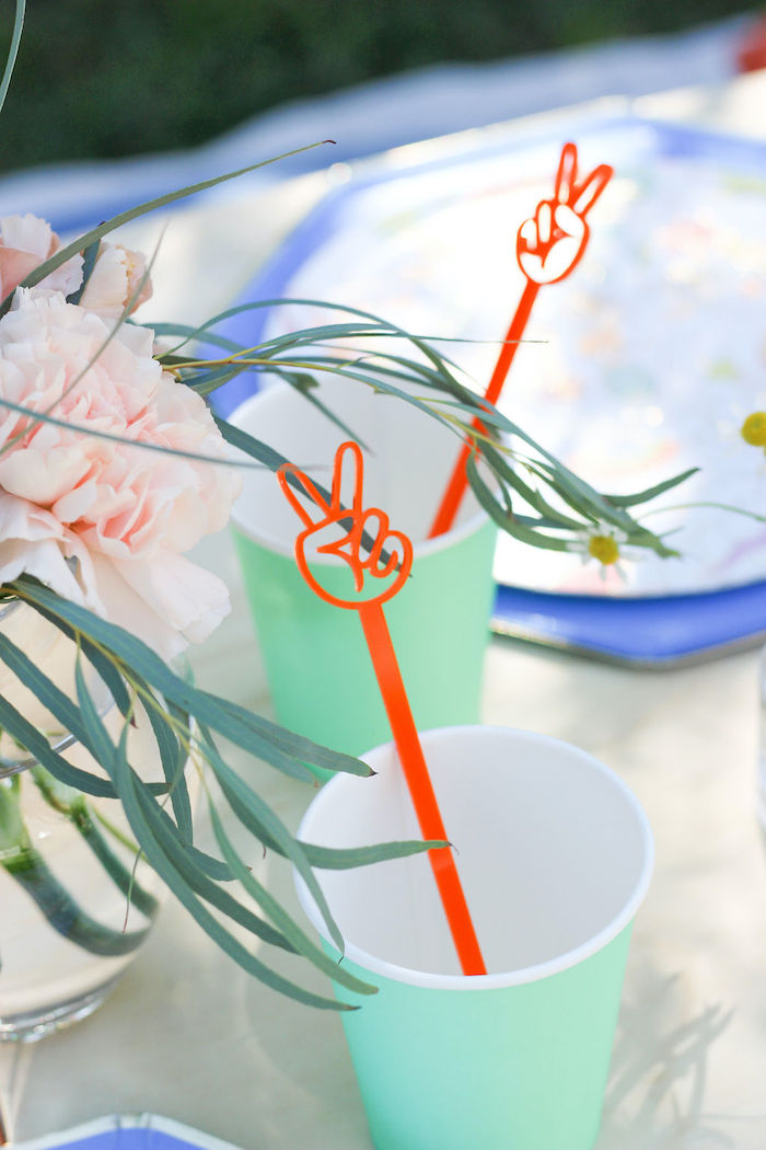"Mint Cup with Peace Stir Stick from a ""TWO Groovy"" 2nd Birthday Party on Kara's Party Ideas 