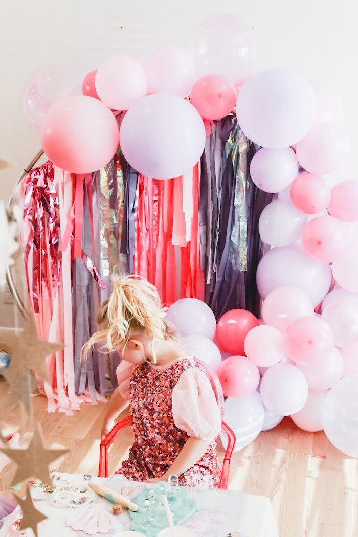 Tassel Balloon Hoop from a 5th Birthday Princess Party on Kara's Party Ideas | KarasPartyIdeas.com (6)