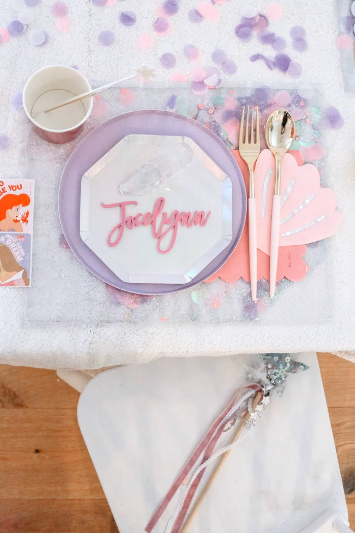 Pink + Purple Table Setting from a 5th Birthday Princess Party on Kara's Party Ideas | KarasPartyIdeas.com (4)