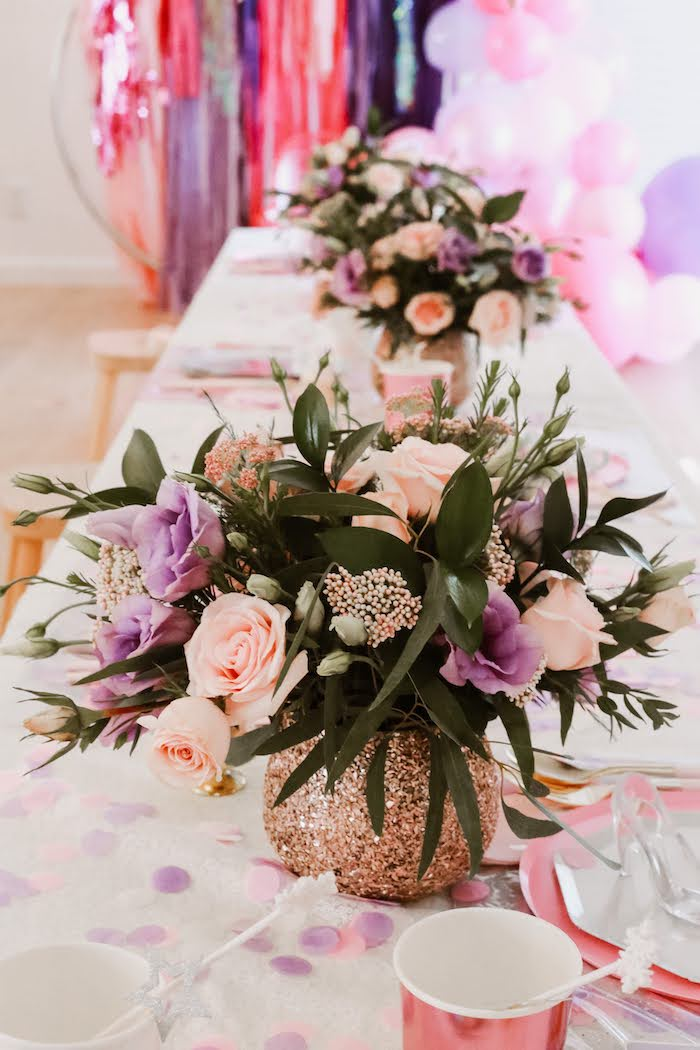 Glitter Vase Floral Arrangements from a 5th Birthday Princess Party on Kara's Party Ideas | KarasPartyIdeas.com (14)