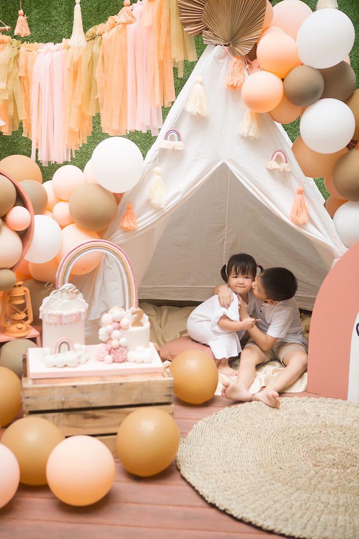 Boho Tent + Cake Lounge from a Boho Rainbow Birthday Party on Kara's Party Ideas | KarasPartyIdeas.com (10)