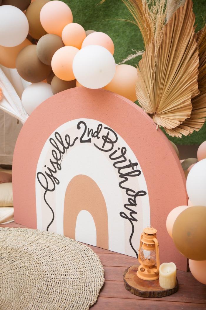 Custom Rainbow Panel Standee from a Boho Rainbow Birthday Party on Kara's Party Ideas | KarasPartyIdeas.com (6)