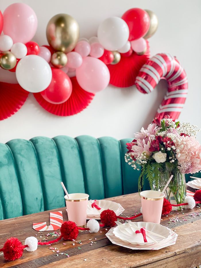 Candy Cane-inspired Soiree Table from a Candy Cane Soiree on Kara's Party Ideas | KarasPartyIdeas.com (14)