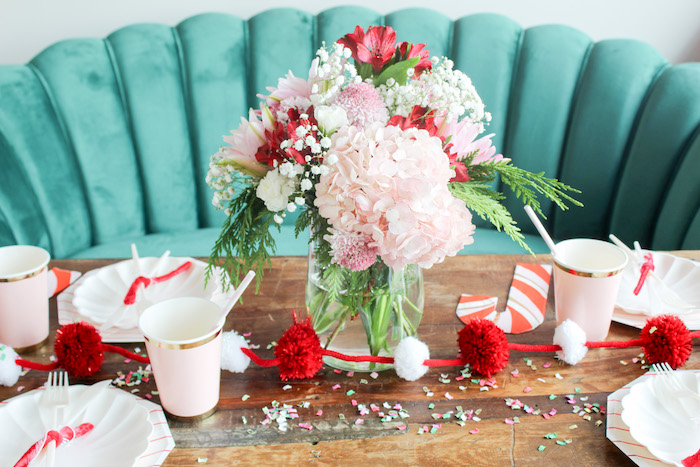 Candy Cane-inspired Blooms + Party Table from a Candy Cane Soiree on Kara's Party Ideas | KarasPartyIdeas.com (13)
