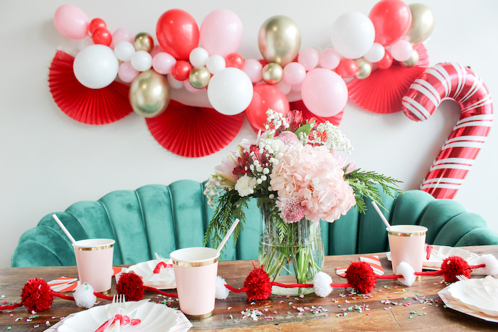 Candy Cane Themed Guest Table from a Candy Cane Soiree on Kara's Party Ideas | KarasPartyIdeas.com (11)