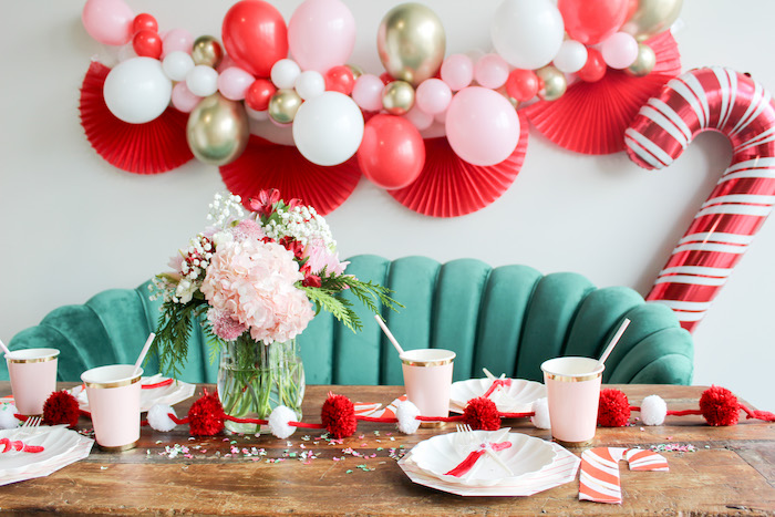 Candy Cane Themed Guest Table from a Candy Cane Soiree on Kara's Party Ideas | KarasPartyIdeas.com (8)