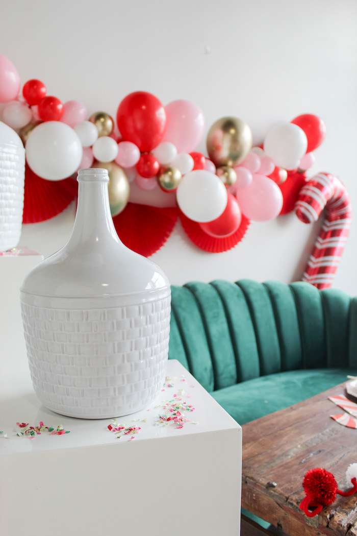 Giant White Vase from a Candy Cane Soiree on Kara's Party Ideas | KarasPartyIdeas.com (7)