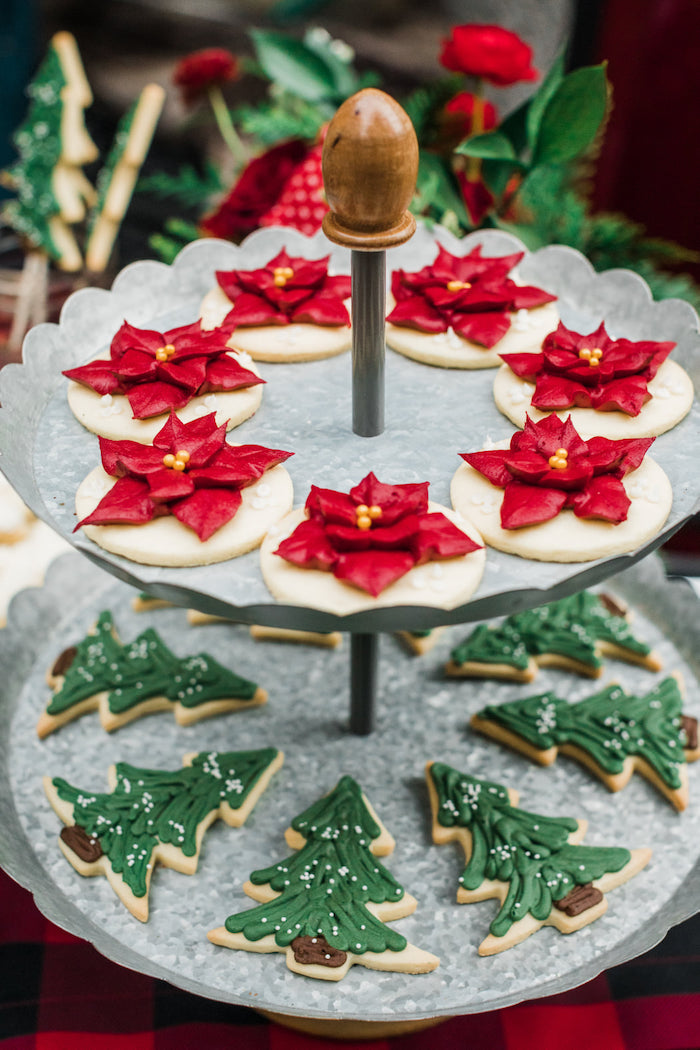 Christmas Poinsettia and Tree Cookies from a Classic Christmas Tailgate Party on Kara's Party Ideas | KarasPartyIdeas.com (8)