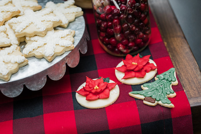 Poinsettia and Tree Cookies from a Classic Christmas Tailgate Party on Kara's Party Ideas | KarasPartyIdeas.com (5)