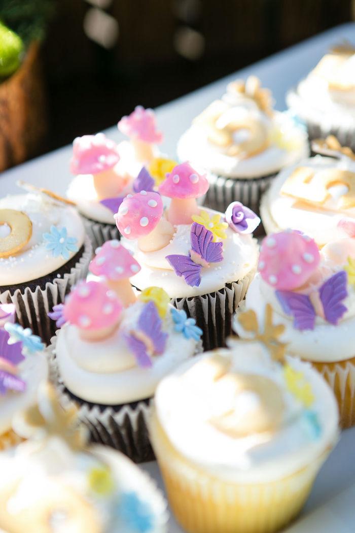 Fairy Garden-inspired Cupcakes from an Enchanted Fairy Garden Birthday Party on Kara's Party Ideas | KarasPartyIdeas.com (29)