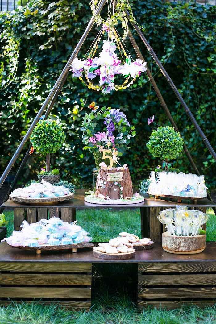 Fairy Garden Dessert Table from an Enchanted Fairy Garden Birthday Party on Kara's Party Ideas | KarasPartyIdeas.com (27)