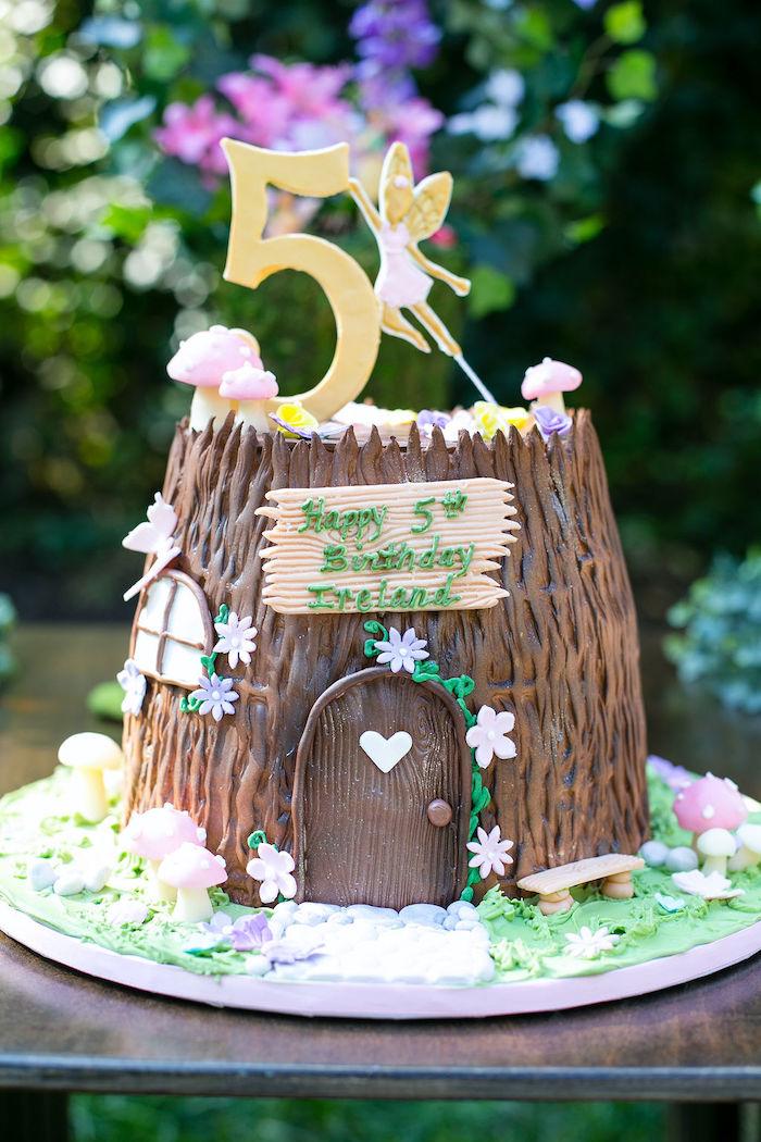 Fairy House Birthday Cake from an Enchanted Fairy Garden Birthday Party on Kara's Party Ideas | KarasPartyIdeas.com (26)