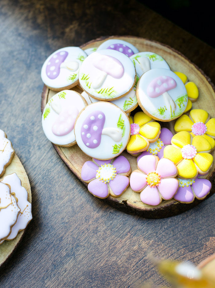 Toadstool & Flower Cookies from an Enchanted Fairy Garden Birthday Party on Kara's Party Ideas | KarasPartyIdeas.com (21)