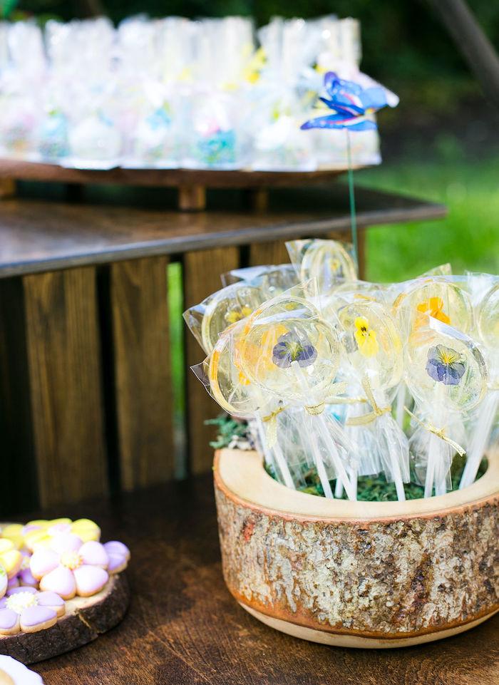 Edible Flower Lollipops from an Enchanted Fairy Garden Birthday Party on Kara's Party Ideas | KarasPartyIdeas.com (19)