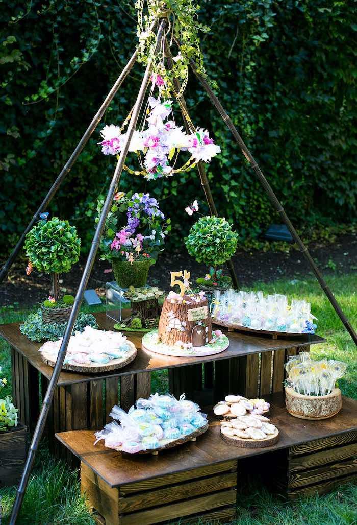 Fairy Garden Dessert Table from an Enchanted Fairy Garden Birthday Party on Kara's Party Ideas | KarasPartyIdeas.com (18)