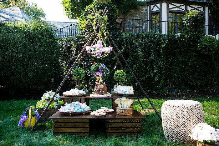 Fairy Garden Dessert Table from an Enchanted Fairy Garden Birthday Party on Kara's Party Ideas | KarasPartyIdeas.com (17)