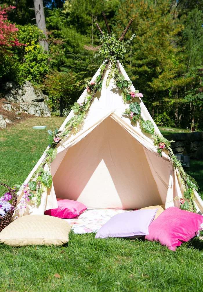 Fairy Garden Teepee Tent from an Enchanted Fairy Garden Birthday Party on Kara's Party Ideas | KarasPartyIdeas.com (14)