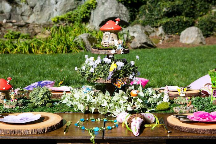 Fairy Garden Guest Table from an Enchanted Fairy Garden Birthday Party on Kara's Party Ideas | KarasPartyIdeas.com (12)